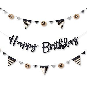 Finally 21 - 21st Birthday - 21st Birthday Party Letter Banner Decoration - 36 Banner Cutouts and Happy Birthday Banner Letters