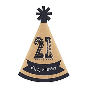 Finally 21 - Mini Cone 21st Birthday Party Hats - Small Little Party Hats - Set of 10