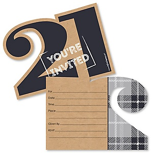 Finally 21 - Shaped Fill-In Invitations - 21st Birthday Party Invitation Cards with Envelopes - Set of 12