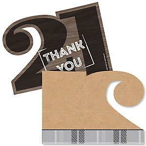 Finally 21 - Shaped Thank You Cards - 21st Birthday Party Thank You Note Cards with Envelopes - Set of 12