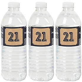 Finally 21 - 21st Birthday - Birthday Party Water Bottle Sticker Labels - Set of 20