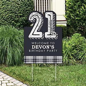 Finally 21 - Party Decorations - 21st Birthday Party Personalized Welcome Yard Sign