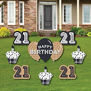 Finally 21 - 21st Birthday - Yard Sign & Outdoor Lawn Decorations - 21st Birthday Party Yard Signs - Set of 8
