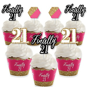 Finally 21 Girl - Cupcake Decoration - 21st Birthday Party Cupcake Wrappers and Treat Picks Kit - Set of 24