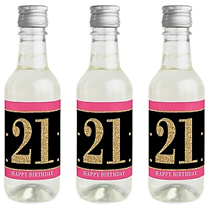 Finally 21 Girl - 21st Birthday - Mini Wine and Champagne Bottle Label Stickers - 21st Birthday Party Favor Gift - For Women and Men - Set of 16