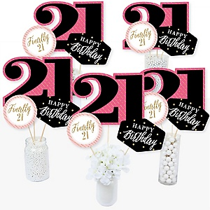 Finally 21 Girl - 21st Birthday Party Centerpiece Sticks - Table Toppers - Set of 15