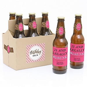 Finally 21 - Girl - Decorations for Women and Men - 6 Beer Bottle Labels and 1 Carrier - Birthday Gift