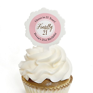 Finally 21 Girl - 21st Birthday - Personalized Birthday Party Cupcake Pick and Sticker Kit - 12 ct