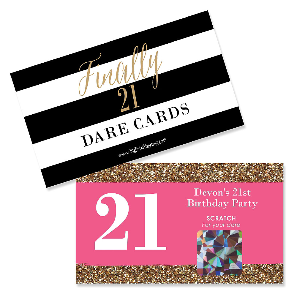 Personalized 21st Birthday Party Scratch Off Dare Cards Double Tap To Zoom