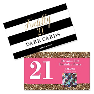 Finally 21 Girl - 21st Birthday - Personalized 21st Birthday Party Scratch Off Dare Cards - 22 ct