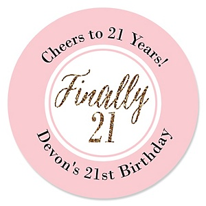 Finally 21 Girl - 21st Birthday - Personalized Birthday Party Sticker Labels - 24 ct
