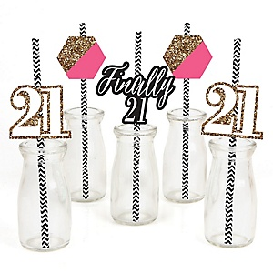 Finally 21 Girl - 21st Birthday - Paper Straw Decor - Birthday Party Striped Decorative Straws - Set of 24