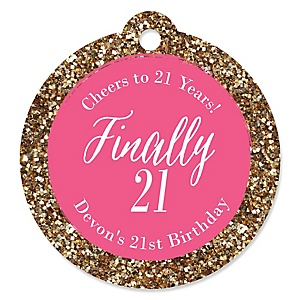 Finally 21 Girl - 21st Birthday - Personalized Birthday Party Tags - 20 ct