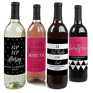 Finally 21 - Girl - Decorations for Women and Men - Wine Bottle Labels Birthday Gift - Set of 4