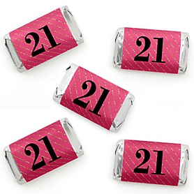 Finally 21 Girl - Mini Candy Bar Wrapper Stickers - 21st Birthday Party Small Favors - 40 Count