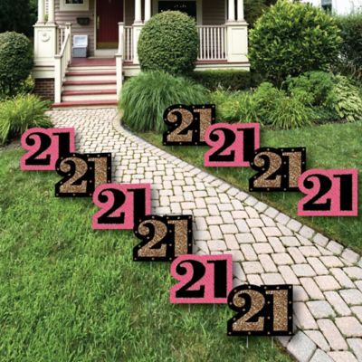 Finally 21 Girl - Lawn Decorations - Outdoor Birthday Party Yard Decorations - 10 Piece & Finally 21 Girl - 21st Birthday - Birthday Party Theme ...