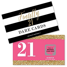 Finally 21 Girl - 21st Birthday - 21st Birthday Party Scratch Off Dare Cards - 22 ct