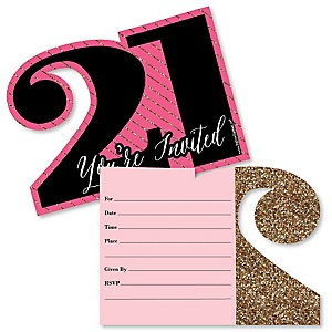 Finally 21 Girl - Shaped Fill-In Invitations - 21st Birthday Party Invitation Cards with Envelopes - Set of 12
