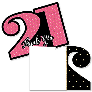Finally 21 Girl - Shaped Thank You Cards - 21st Birthday Party Thank You Note Cards with Envelopes - Set of 12