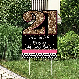Finally 21 Girl - Party Decorations - 21st Birthday Party Personalized Welcome Yard Sign