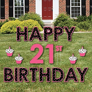 Happy 21st Birthday - Yard Sign Outdoor Lawn Decorations - Finally 21 Girl Yard Signs