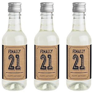 Finally 21 - 21st Birthday - Mini Wine and Champagne Bottle Label Stickers - 21st Birthday Party Favor Gift - For Women and Men - Set of 16