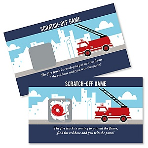 Fired Up Fire Truck - Firefighter Firetruck Baby Shower or Birthday Party Game Scratch Off Cards - 22 ct
