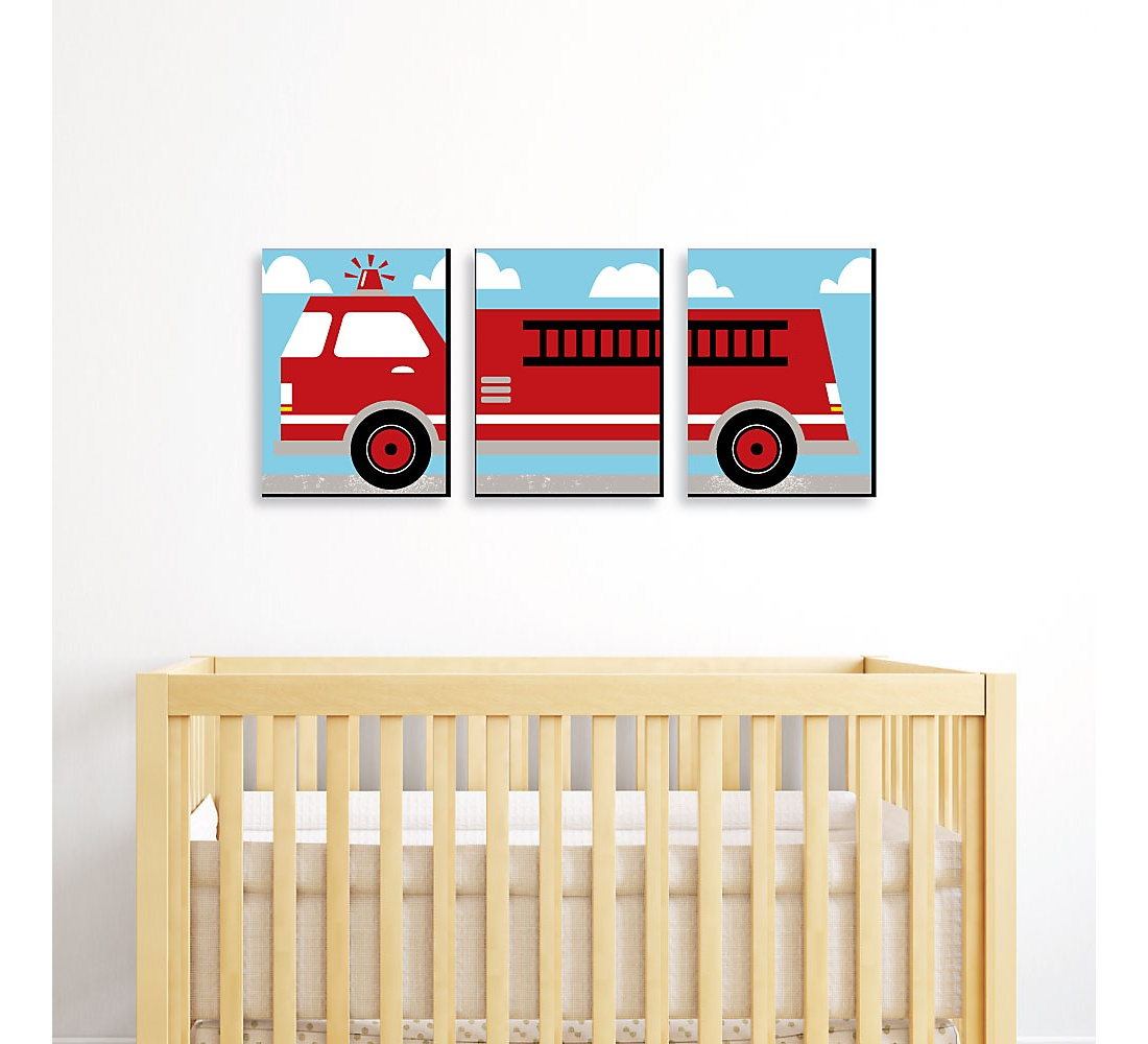 Fired Up Fire Truck Boy Firefighter Firetruck Nursery Wall Art And Kids Room Decor 7 5 X 10 Inches Set Of 3 Prints