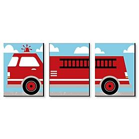 Fired Up Fire Truck - Boy Firefighter Firetruck Nursery Wall Art and Kids Room Decor - 7.5 x 10 inches - Set of 3 Prints