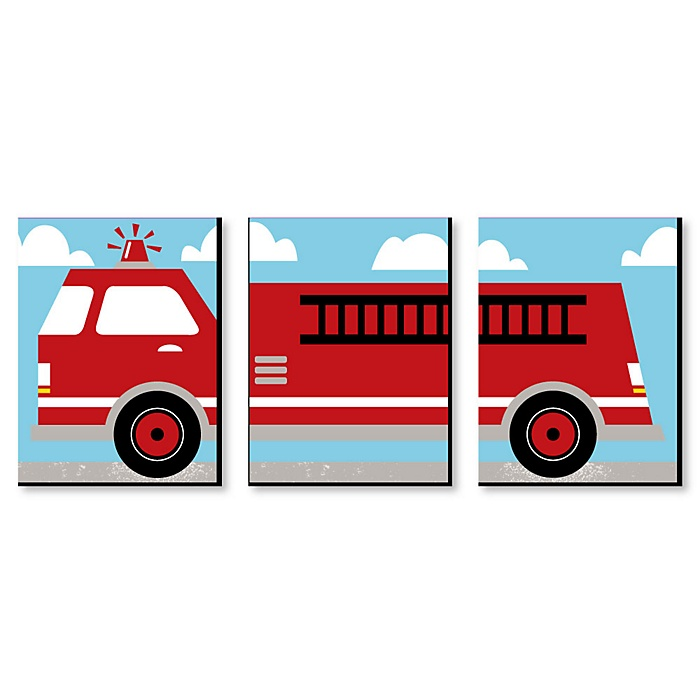 Fired Up Fire Truck - Boy Firefighter Firetruck Nursery Wall Art and Kids Room Decor - 7.5 x 10 inches - Set of 3 Prints