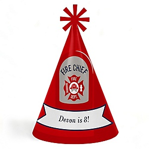Fired Up Fire Truck - Personalized Cone Happy Birthday Party Hats for Kids and Adults - Set of 8 (Standard Size)