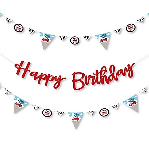 Fired Up Fire Truck - Firefighter Firetruck Birthday Party Letter Banner Decoration - 36 Banner Cutouts and Happy Birthday Banner Letters