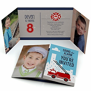 Fired Up Fire Truck - Personalized Firefighter Firetruck Birthday Party Photo Invitations - Set of 12