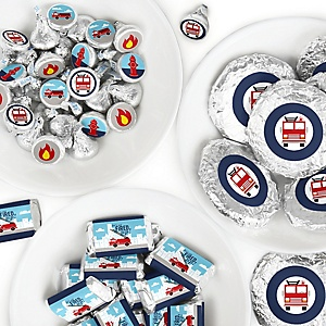 Fired Up Fire Truck - Mini Candy Bar Wrappers, Round Candy Stickers and Circle Stickers - Firefighter Firetruck Baby Shower or Birthday Party Candy Favor Sticker Kit - 304 Pieces