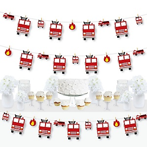 Fired Up Fire Truck - Firefighter Firetruck Baby Shower or Birthday Party DIY Decorations - Clothespin Garland Banner - 44 Pieces
