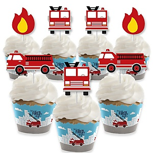 Fired Up Fire Truck - Cupcake Decoration - Firefighter Firetruck Baby Shower or Birthday Party Cupcake Wrappers and Treat Picks Kit - Set of 24