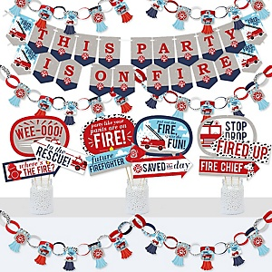 Fired Up Fire Truck - Banner and Photo Booth Decorations - Firefighter Firetruck Baby Shower or Birthday Party Supplies Kit - Doterrific Bundle