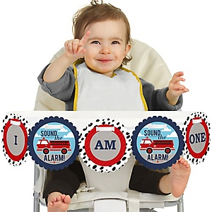 Fired Up Fire Truck 1st Birthday - I am One - First Birthday High Chair Banner