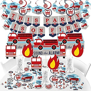 Fired Up Fire Truck - Firefighter Firetruck Baby Shower or Birthday Party Supplies - Banner Decoration Kit - Fundle Bundle