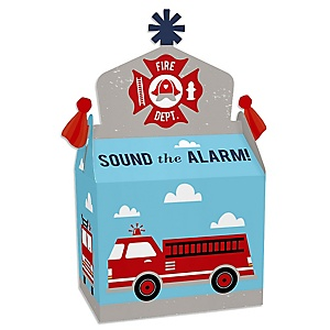 Fired Up Fire Truck - Treat Box Party Favors - Firefighter Firetruck Baby Shower or Birthday Party Goodie Gable Boxes - Set of 12