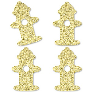Gold Glitter Fire Hydrant - No-Mess Real Gold Glitter Cut-Outs - Fired Up Fire Truck/Firefighter Firetruck Baby Shower or Birthday Party Confetti - Set of 24
