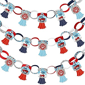 Fired Up Fire Truck - 90 Chain Links and 30 Paper Tassels Decoration Kit - Firefighter Firetruck Baby Shower or Birthday Party Paper Chains Garland - 21 feet