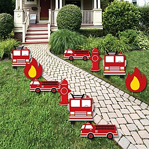 Fired Up Fire Truck - Lawn Decorations - Outdoor Firefighter Firetruck Baby Shower or Birthday Party Yard Decorations - 10 Piece