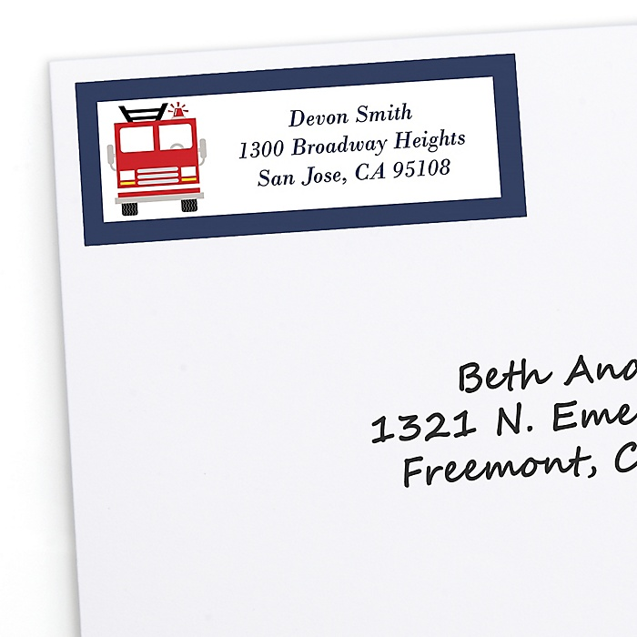 Fired Up Fire Truck - Firefighter Firetruck - Personalized Party Return Address Labels - 30 ct