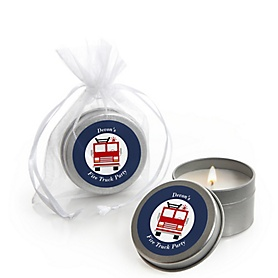 Fired Up Fire Truck - Firefighter Firetruck - Personalized Party Candle Tin Favors - Set of 12