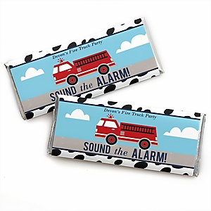Fired Up Fire Truck - Personalized Candy Bar Wrapper Firefighter Firetruck Baby Shower or Birthday Party Favors - Set of 24