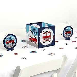 Fired Up Fire Truck - Firefighter Firetruck Baby Shower or Birthday Party Centerpiece & Table Decoration Kit