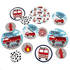 Fired Up Fire Truck - Firefighter Firetruck Baby Shower or Birthday Party Giant Circle Confetti - Party Decorations - Large Confetti 27 Count