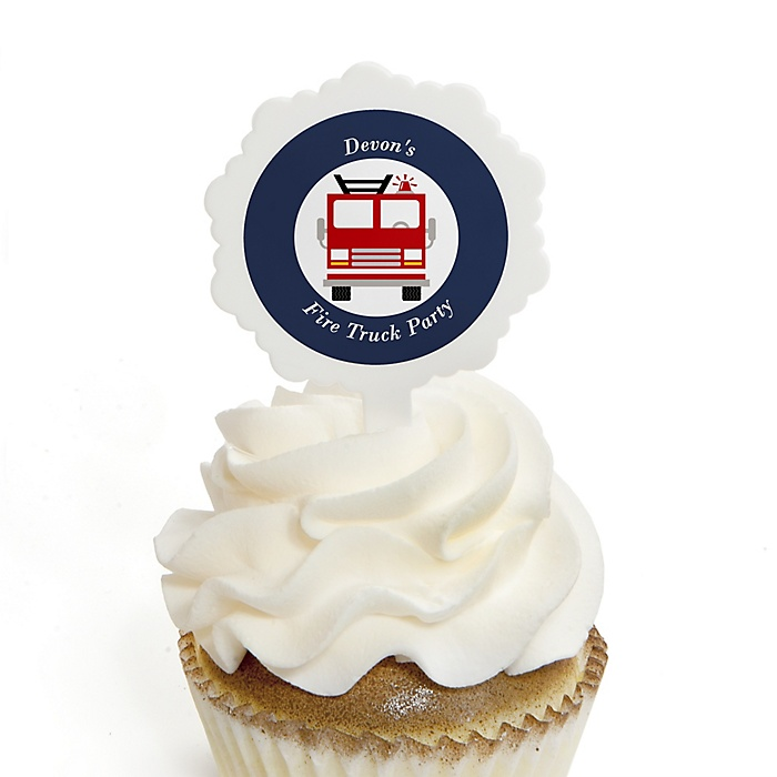 Fired Up Fire Truck - Personalized Firefighter Firetruck Party Cupcake Picks and Sticker Kit - 12 ct