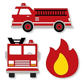 Fired Up Fire Truck - DIY Shaped Firefighter Firetruck Baby Shower or Birthday Party Cut-Outs - 24 ct